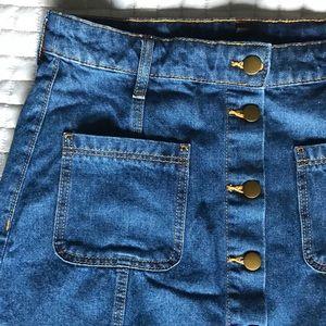   new   button up denim skirt